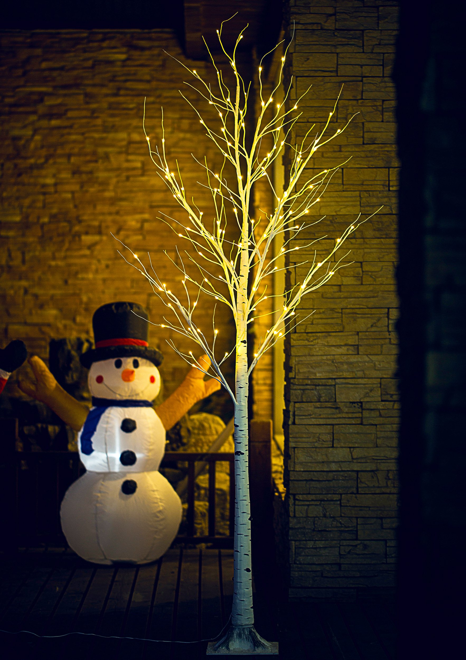 Fashionlite 8FT 128 LED Light Winter Birch Decorative Tree