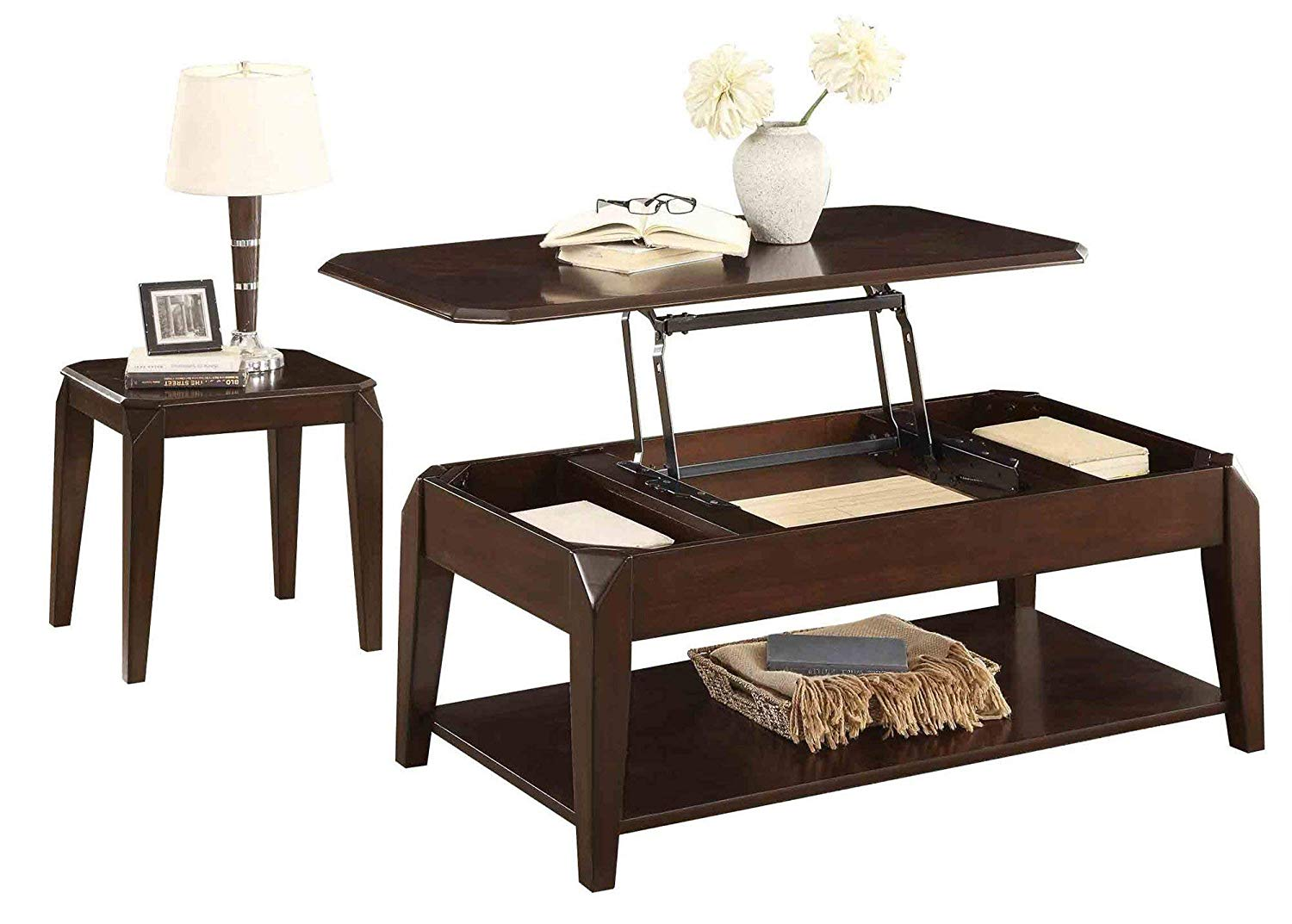 Schmier Modern 2PC Occasional Set Lift Top Cocktail Table on Casters, 1 End Table in Warm Cherry