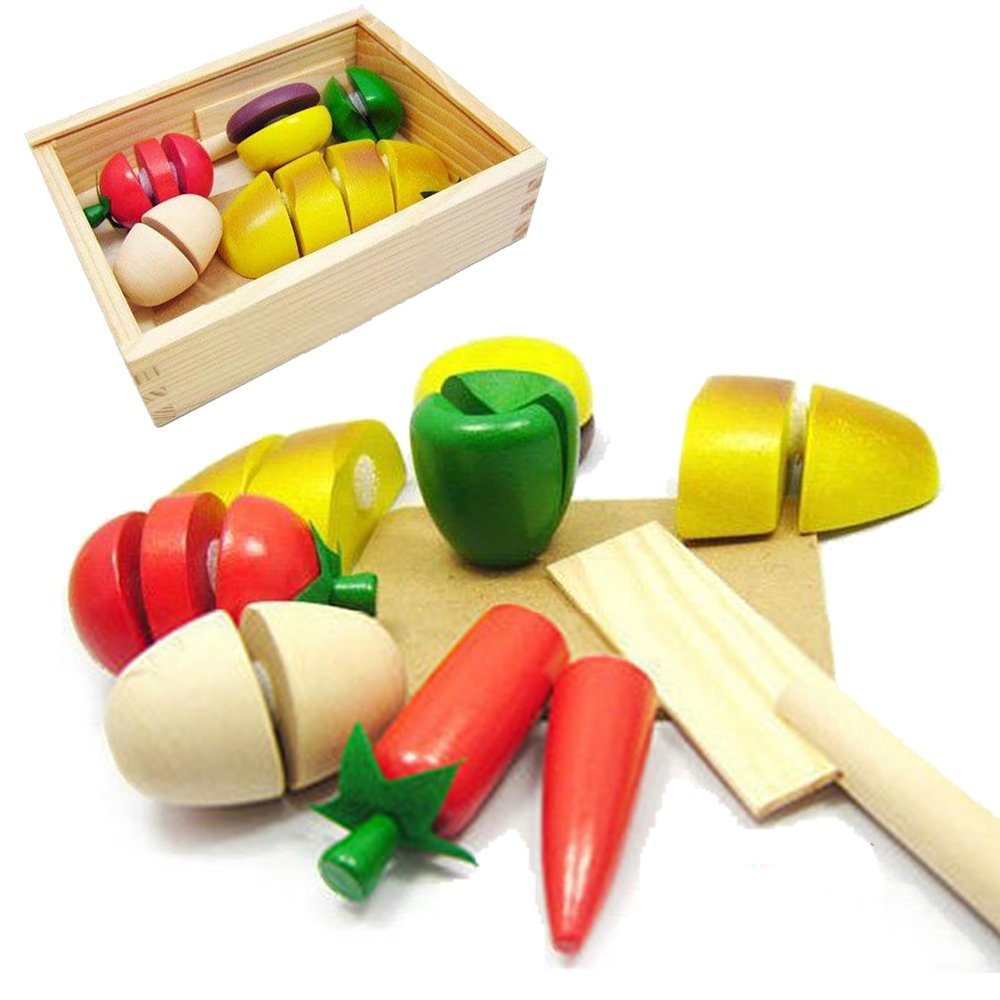 Kidcia 8 Pcs Kids Pretend Play Food Toys Food Fruit Vegetable Fun Cutting Set for Toddlers
