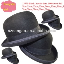 Wholesale black fedora derby hat with white lining women