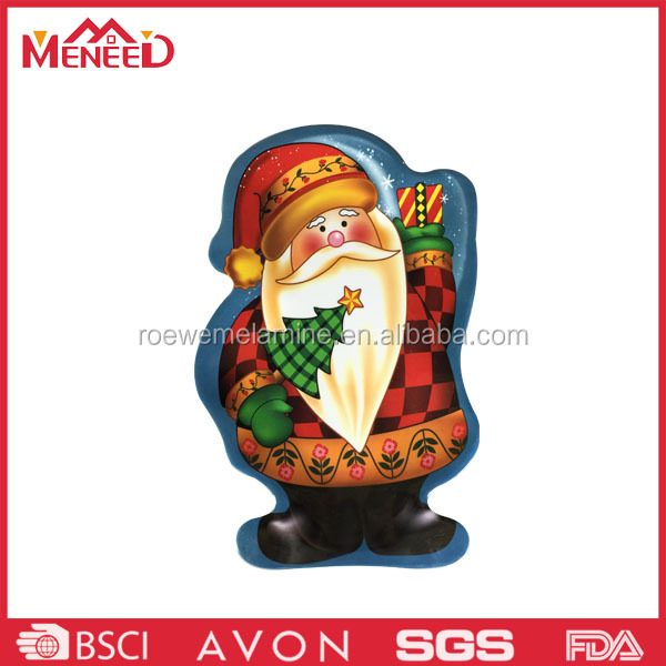 Santa shape design christmas melamine side dishes , china factory price custom dinner plate
