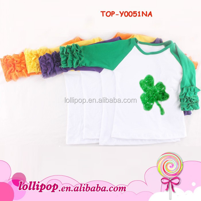 Picture Of Latest Ruffle Raglans Shirt Designs - Girls Valentines Day Shirt With Handcrochet Smocked Sequin Clover Boutique