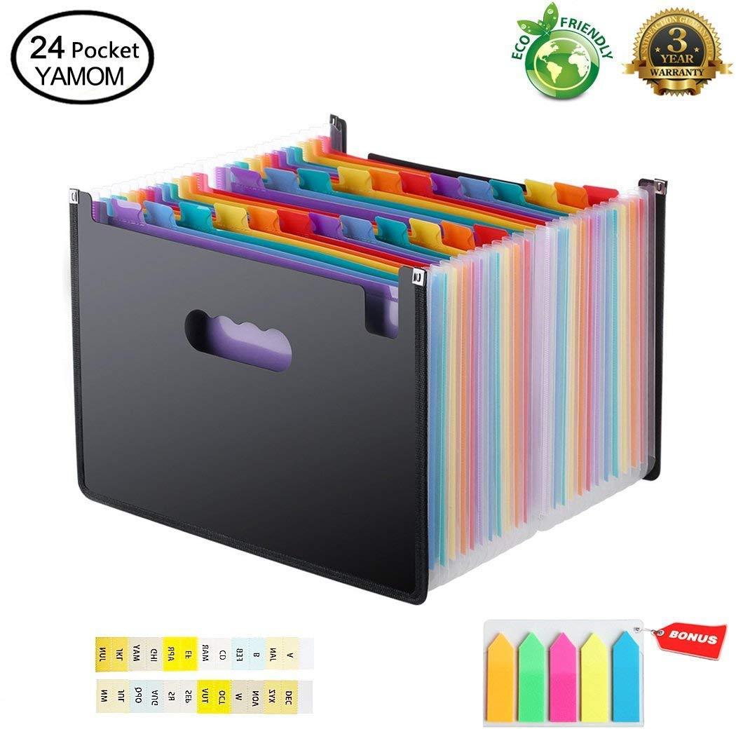 Accordion Folder Expanding File Organizer Document Receipt Bill Letter Paper A4/Size Multi-Colour 24 Pockets Large Capacity Portable Box Stand Bag - Bonus 5 Color Labels