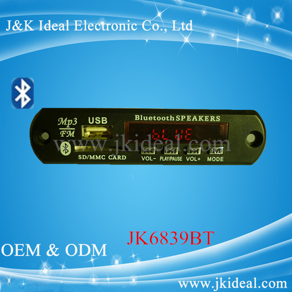 JK6839BT Best sales mp3 player modulator with bluetooth car mp3 fm modulator
