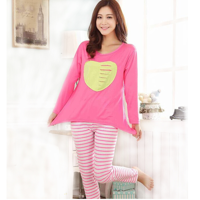 6d6b2affef4f Get Quotations · Cute Heart pajama 2 piece sets sexy women home clothing  large sized Milk Silk women s sleeping