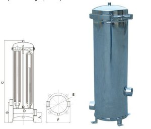 Stainless steel water filter cartridge housing for water treatment