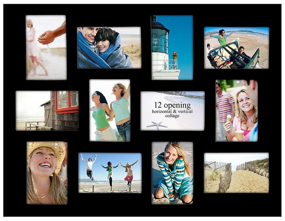 Madera Negro Pared Collage Marco De Imagen With12 Aberturas Para El ...