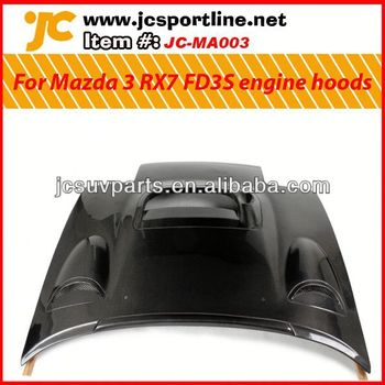 For Mazda 3 RX7 FD3S carbon fiber engine hood JC style carbon hoods with hole
