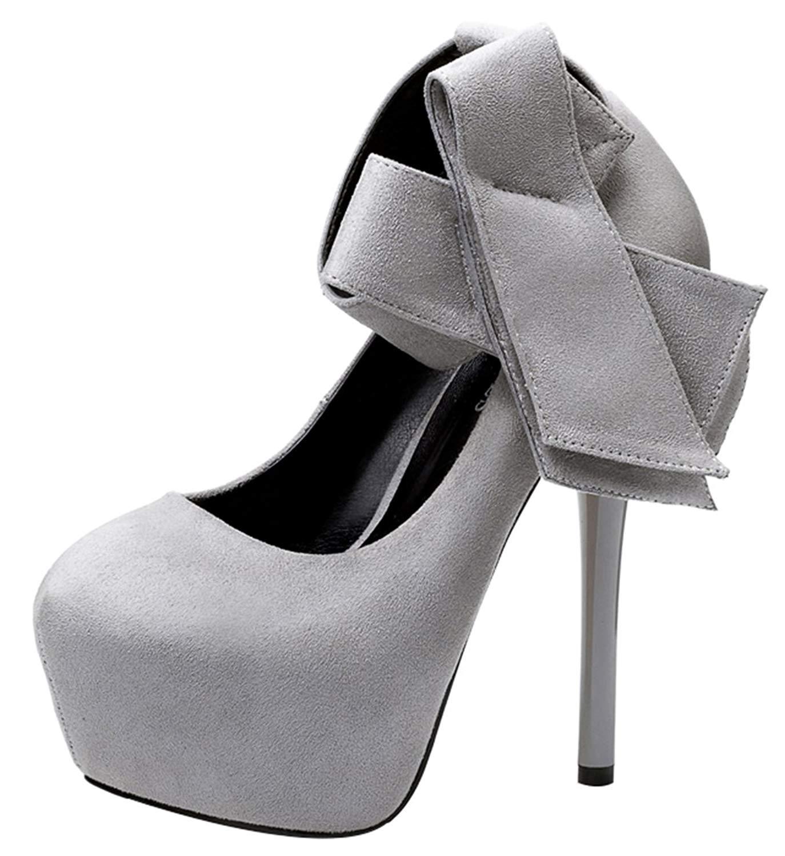 db4dcc748 Get Quotations · Passionow Women's Fashion Close Round Toe Ankle Strap  Bowknot Super High Stilettos Heel Platform Suede Pumps