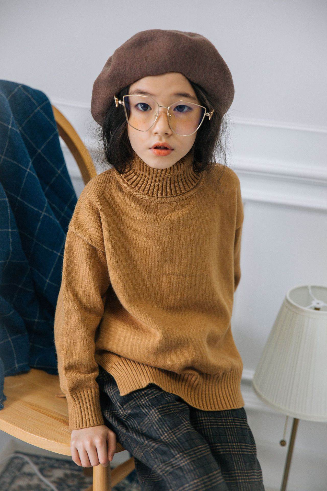 S52751A   Girls turtleneck sweater Long-sleeved pullover