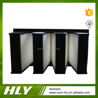 China cheap price mini pleat ultrafine glassfiber V bank air filter fan box for factory