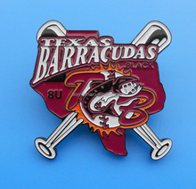 Barracudas Texas baseball badge pin