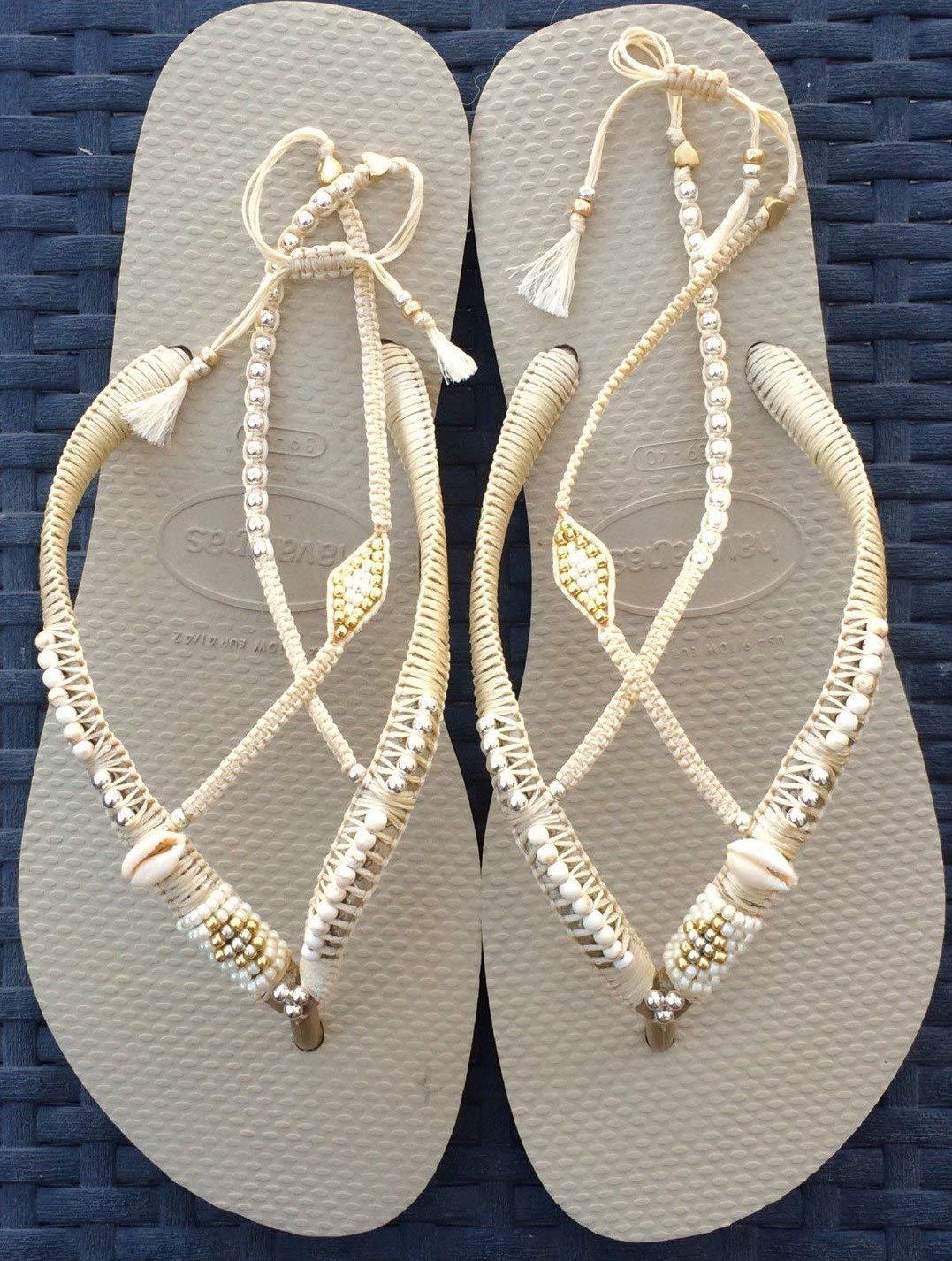 Unique Women's Sandals, Boho Wedding Flat Shoes, Hippie Bridal Cream Beaded Flip Flops with Anklet, Sizes 5-12 US, Handmade Designer