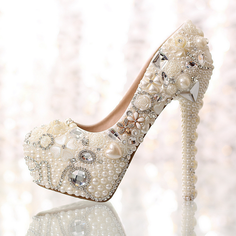 Shinning Pearl Diamond Wedding Shoes Bride Shoes Crystal High-heeled Shoes Wedding Dress Shoes Lady Party Prom Shoes