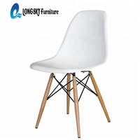 LS-4001 Best Price Modern Office Restaurant Living Room Dining PP Plastic Chair With Solid Wood Legs