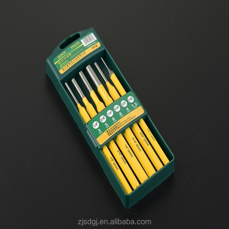 pin punch set 6pcs for mechanics with hardened and tempered to HRC 53-61