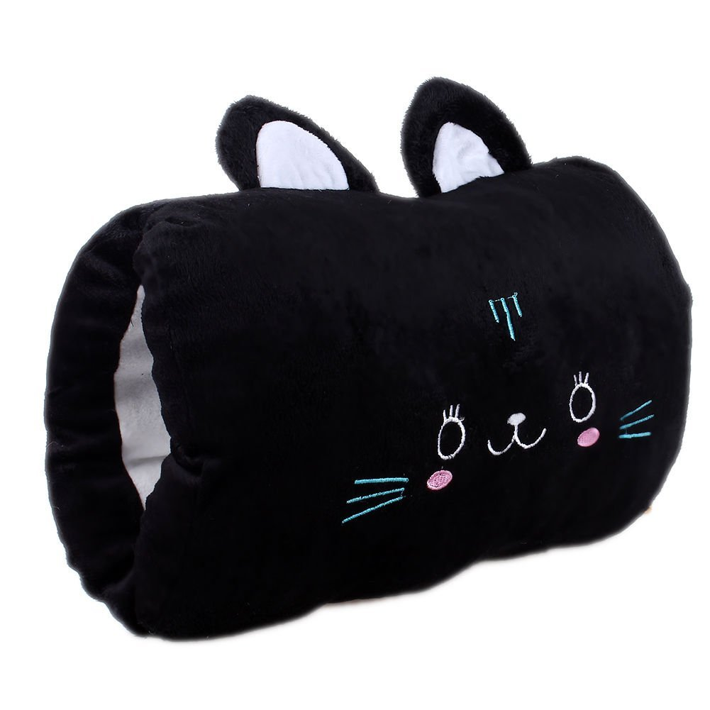 New Travel Cute Pillow Cartoon Animals Soft Hand Hold Warm Plush Cotton Toy Cushion Pillow Black Cat Cute Gift