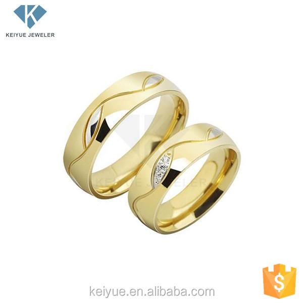 Couple Ring Saudi Arabia 18k Gold Plated Wedding Ring Sets Price