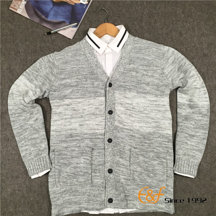 2017 fashion design 100% Combed Cotton knit mens cardigan sweater