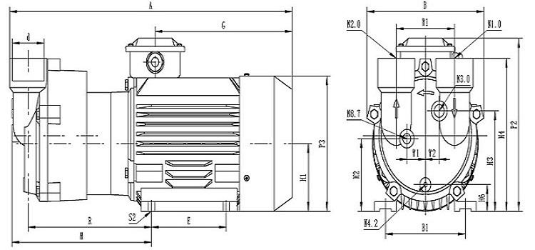 Model 2BV2 060 power 0.81kw capacity 0.45m3/min liquid ring vacuum pump