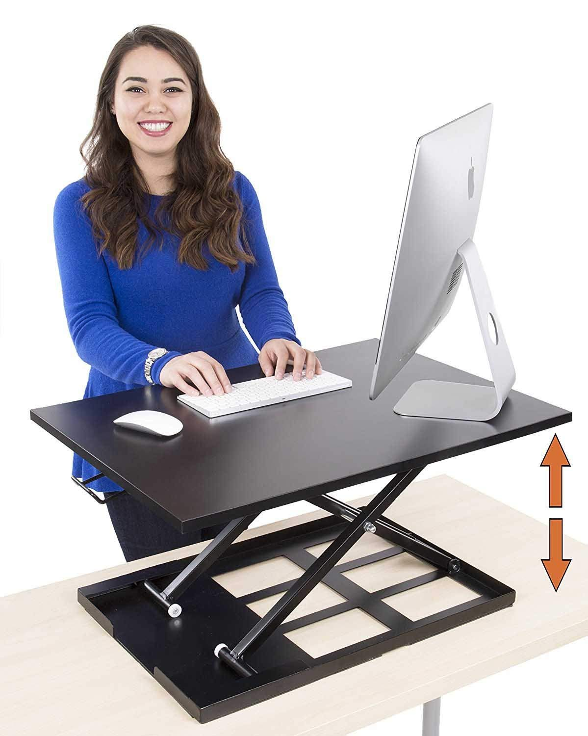 Best Adjustable Standing Desk - Xtreme-Pro Height Adjustable Desk Converter - Size 28in x 20in - Instantly Convert Any Desk to a Sit/Stand up Desk to Improve Posture (Black)