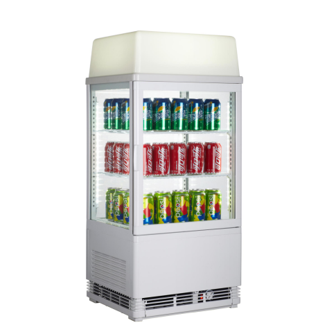 58L Commercial Countertop Drink Bottle Beverage Display Cooler Showcase Four Side Used Glass Door Refrigerators Mini Fridge