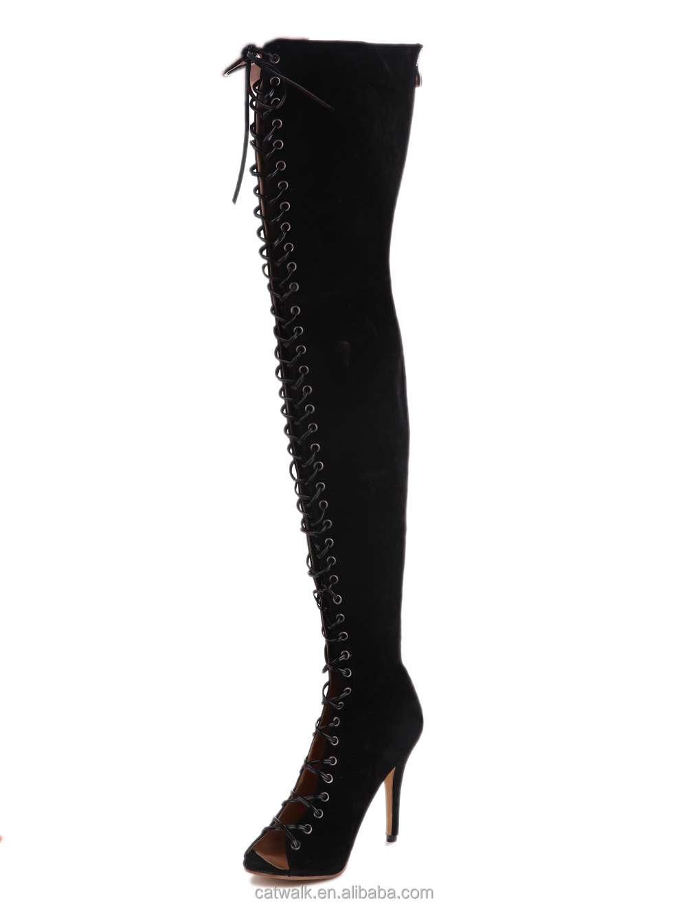 Lace Up Thigh High Boots For Women Back Zipper Sexy Peep Toe Black ...