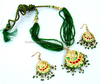 Rajputi Ethnic Rajasthani Green Red Lac Faux Necklace And Earring