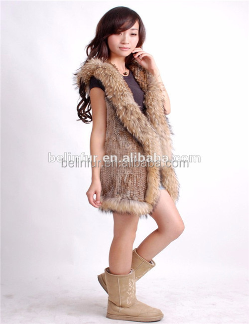 Girls Brown Sleeveless Winter Knitted Rabbit Fur Vest Raccoon Fur Trim