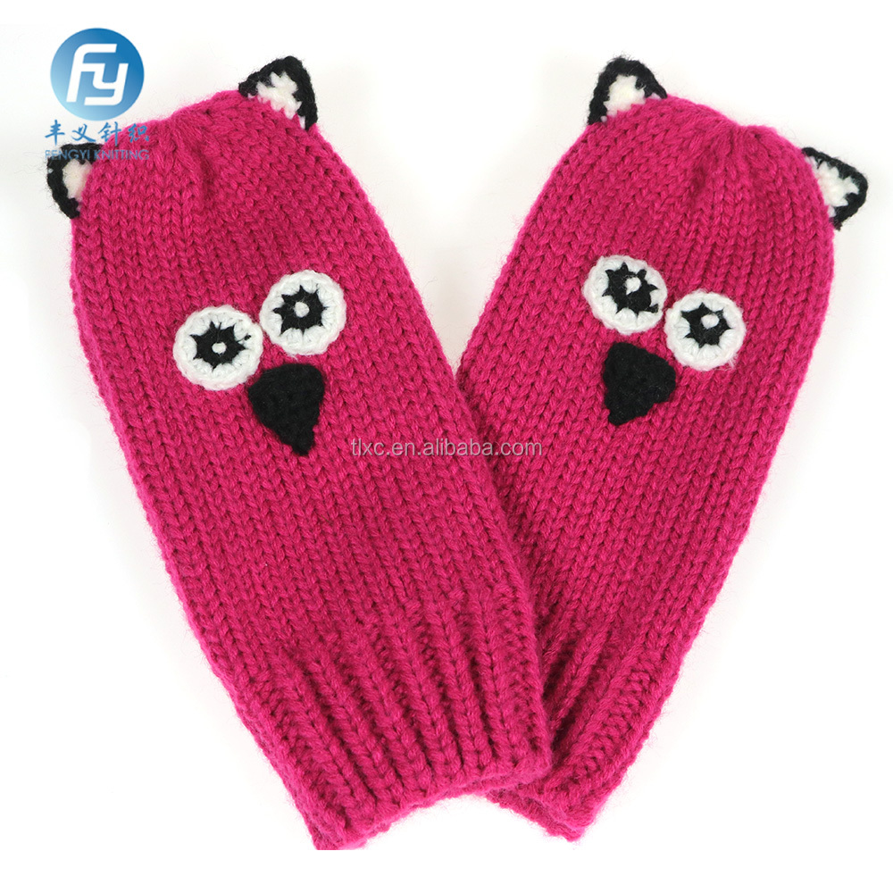 2017 fashion gilrs knitted mitten animal pattern gloves mitten