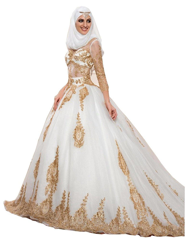 e5237df0b7b Get Quotations · Tsbridal Gold Ball Gowns Wedding Dresses Long Sleeves  Muslim Wedding Dress