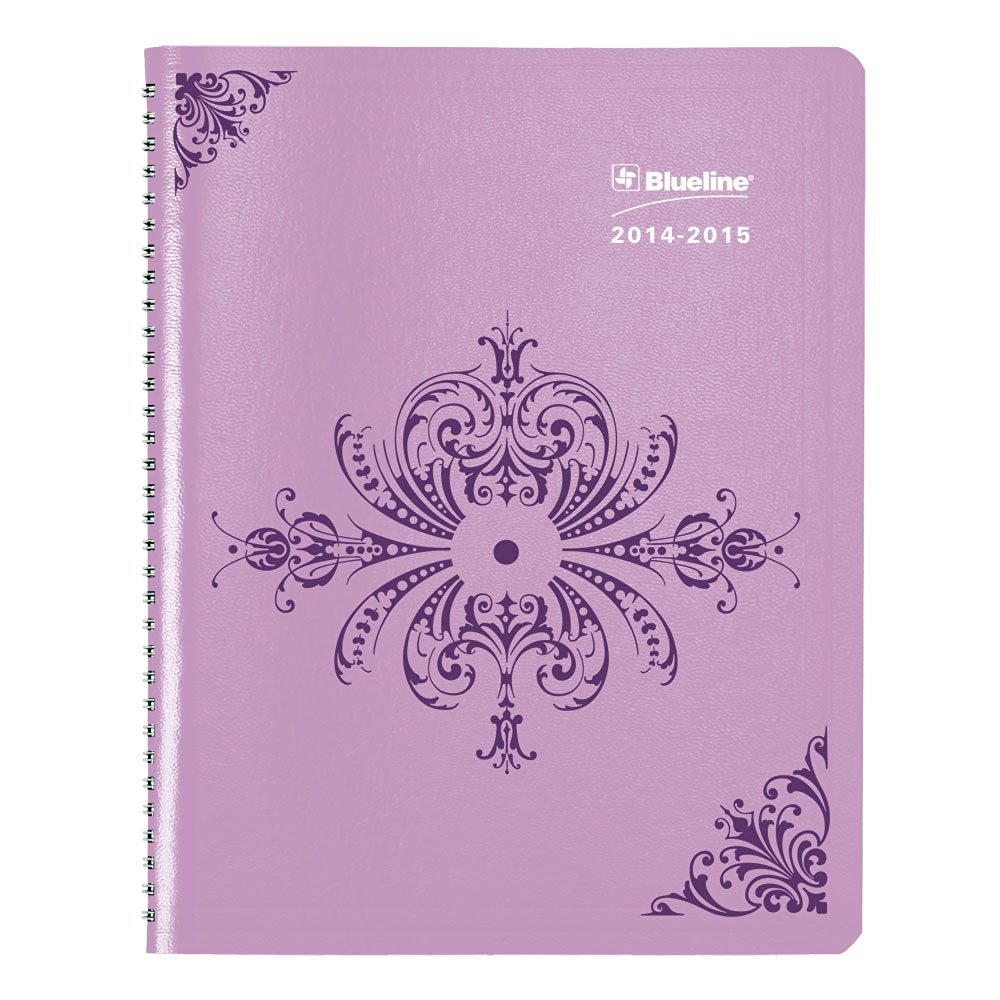 Blueline Silkscreened Academic Weekly/Monthly planner, August 2014 - July 2015, 11 x 8.5 inches, Lavender, 1 Planner (CA955.03-15)