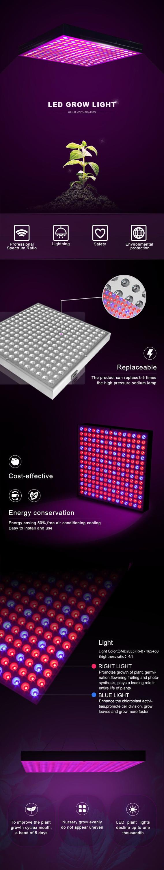 Beste hydrocultuur groeien kit goedkope full spectrum indoor Vierkante 225 pcs leds 45 W diy led grow light panel voor indoor planten