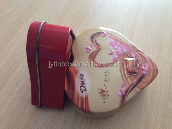 valentine's day chocolates Empty wholesale heart shaped tin cans for packing