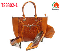 2015 new arriving fashion design African shoes and bag to match, beautiful high quality leather shoes match bag TSB302-1