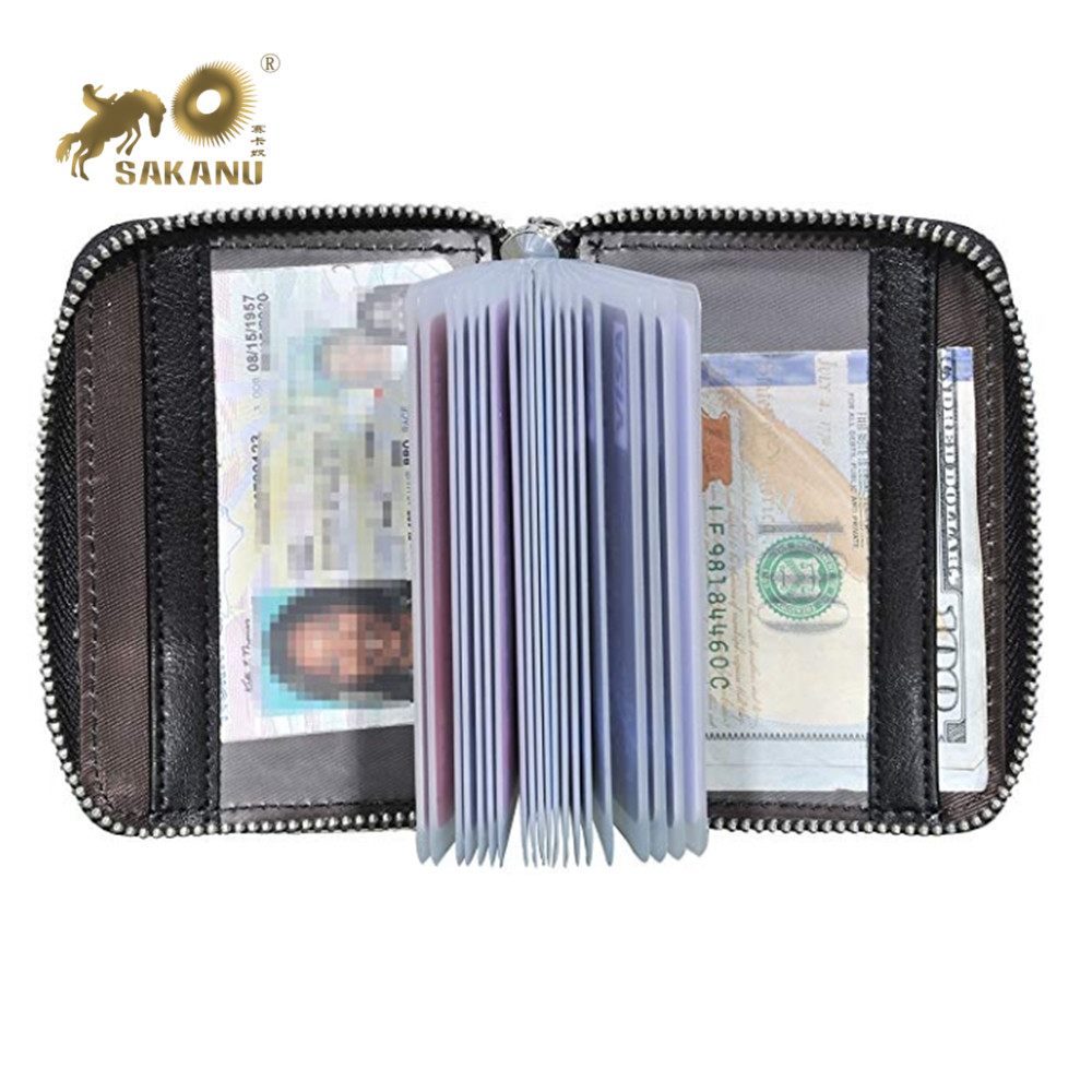 Rits Rond PVC Pocket PU Leather Wallet Credit Card holder
