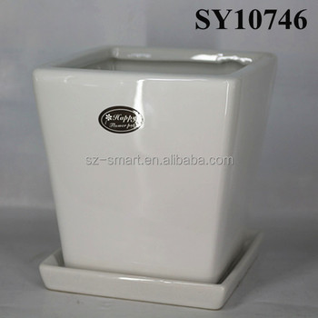 Square white ceramic flower pot with saucer buy white ceramic square white ceramic flower pot with saucer mightylinksfo