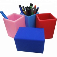 Fancy design BPA free cube cubic silicone rubber pencil cup pen container silicone pen holder