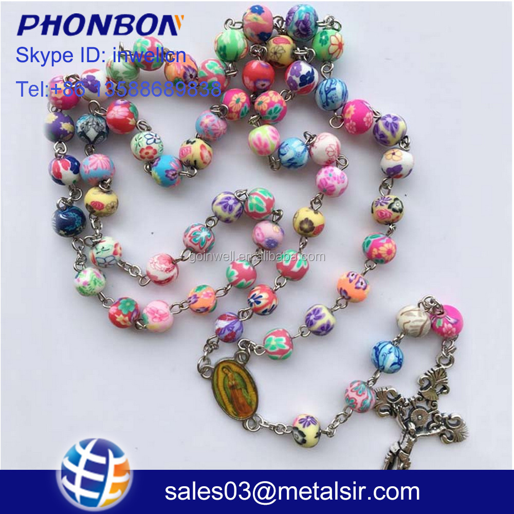 Amozon hot sale plastic cross rosary, Factory wholesale acrylic polymer clay beads cross rosary, religious rosary