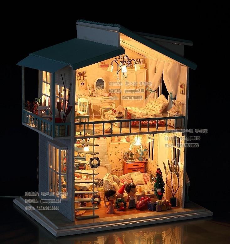 """DIY LED Light """"cradle On The Beach"""" Deluxe House Dollhouse"""