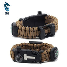 Buckle Whistle Compass Flint Fire Starter Paracord Bracelet for Camping