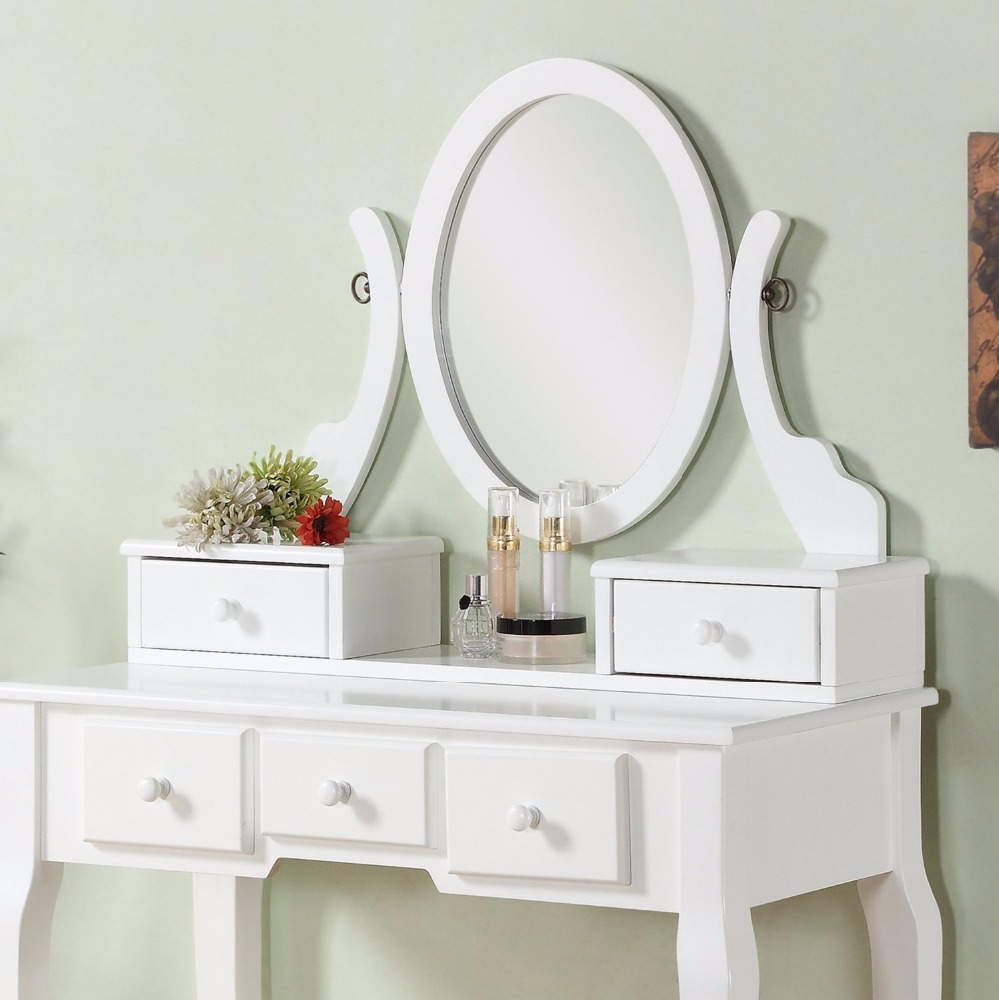 Roundhill Furniture Make Up Vanity Table And Stool Set Dressing Tablewhite