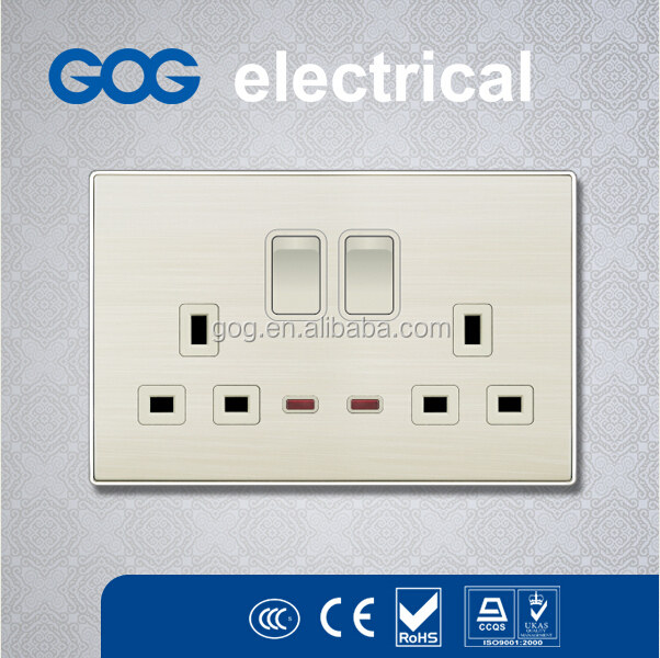 wall switch socket outlet faceplate, twin sockets with indicator