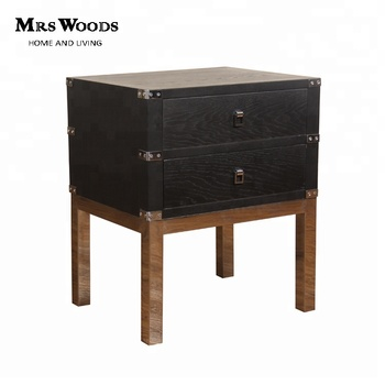 solid oak nickel finish stainless steel black bedside table with drawers