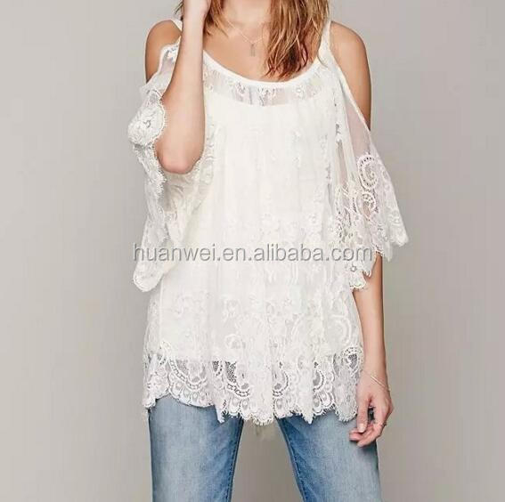 Summer <strong>Bikini</strong> <strong>Cover</strong> <strong>Up</strong> Ladies Beach Dress Fashion White Lace Blouses For Women