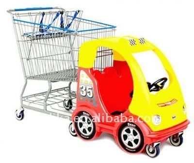 kids plastic shopping cart with a toy car