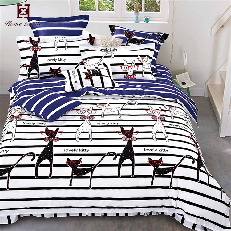 Best quality striped 4 pcs cotton bedsheets cartoon cat print bed sheet 3 d bedding set