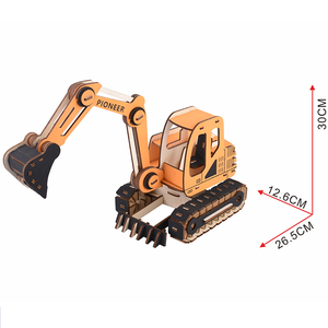 2019 Customerzied Excavator 3D Wooden Assembly Puzzles Kits DIY Wooden Model Kit Brain Teaser