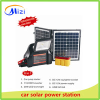 portable mini home solar power station with 20w folding solar panel