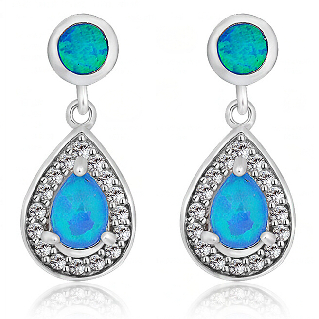 Women Fashion Jewelry Opal Earrings 925 Silver Filled brincos de festa Dangle Drop Earring 2015 NEW Arrival Ear0533